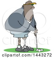 Cartoon Black Man Amputee Golfing