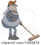 Clipart Of A Cartoon Chubby Black Worker Man Using A Push Broom Royalty Free Vector Illustration