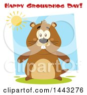Clipart Of A Flat Styled Happy Groundhog Mascot Under A Sun And Happy Groundhog Day Text Royalty Free Vector Illustration