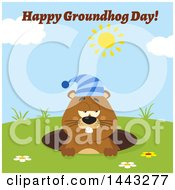 Clipart Of A Flat Styled Sleepy Groundhog Mascot Wearing A Hat In A Hole On A Sunny Day With Text Royalty Free Vector Illustration