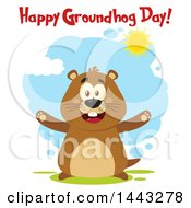 Clipart Of A Flat Styled Happy Groundhog Mascot With Open Arms And Text On A Sunny Day Royalty Free Vector Illustration