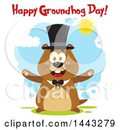 Clipart Of A Flat Styled Happy Groundhog Mascot With Open Arms Wearing A Top Hat With Text On A Sunny Day Royalty Free Vector Illustration