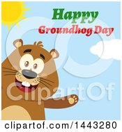 Clipart Of A Flat Styled Happy Groundhog Mascot Presenting With Text On A Sunny Day Royalty Free Vector Illustration