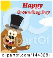 Clipart Of A Flat Styled Happy Groundhog Mascot Presenting And Wearing A Top Hat With Text On A Sunny Day Royalty Free Vector Illustration
