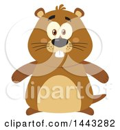 Clipart Of A Flat Styled Groundhog Mascot Royalty Free Vector Illustration by Hit Toon