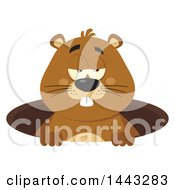 Clipart Of A Flat Styled Sleepy Groundhog Mascot In A Hole Royalty Free Vector Illustration by Hit Toon