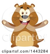 Clipart Of A Flat Styled Happy Groundhog Mascot With Open Arms Royalty Free Vector Illustration by Hit Toon
