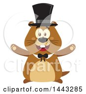 Clipart Of A Flat Styled Happy Groundhog Mascot With Open Arms Wearing A Top Hat Royalty Free Vector Illustration by Hit Toon