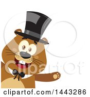 Clipart Of A Flat Styled Happy Groundhog Mascot Presenting And Wearing A Top Hat Royalty Free Vector Illustration by Hit Toon