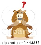 Clipart Of A Flat Styled Groundhog Mascot With A Question Mark Royalty Free Vector Illustration