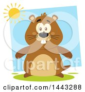 Clipart Of A Flat Styled Happy Groundhog Mascot Under A Sun Royalty Free Vector Illustration