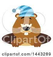 Clipart Of A Flat Styled Sleepy Groundhog Mascot Wearing A Hat In A Hole Royalty Free Vector Illustration