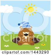 Clipart Of A Flat Styled Sleepy Groundhog Mascot Wearing A Hat In A Hole On A Sunny Day Royalty Free Vector Illustration