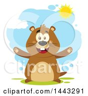 Clipart Of A Flat Styled Happy Groundhog Mascot With Open Arms On A Sunny Day Royalty Free Vector Illustration