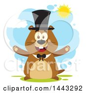 Clipart Of A Flat Styled Happy Groundhog Mascot With Open Arms Wearing A Top Hat On A Sunny Day Royalty Free Vector Illustration