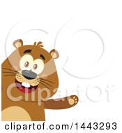 Clipart Of A Flat Styled Happy Groundhog Mascot Presenting Royalty Free Vector Illustration by Hit Toon