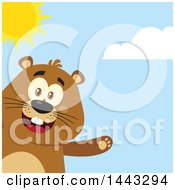 Clipart Of A Flat Styled Happy Groundhog Mascot Presenting On A Sunny Day Royalty Free Vector Illustration