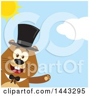 Clipart Of A Flat Styled Happy Groundhog Mascot Presenting And Wearing A Top Hat On A Sunny Day Royalty Free Vector Illustration