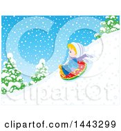 Clipart Of A Little Blond White Boy Snow Tubing Royalty Free Vector Illustration