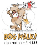 Dogs Walking With Dog Walk Text Clipart Illustration