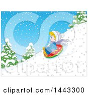 Clipart Of A Cartoon Little Blond Caucasian Boy Snow Tubing Royalty Free Vector Illustration