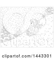 Clipart Of A Cartoon Black And White Lineart Boy Snow Tubing Royalty Free Vector Illustration