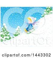 Clipart Of A Little Blond White Boy Sledding Royalty Free Vector Illustration