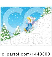 Clipart Of A Cartoon Little Blond Caucasian Boy Sledding Royalty Free Vector Illustration