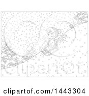 Clipart Of A Cartoon Black And White Lineart Boy Sledding Royalty Free Vector Illustration