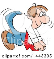 Clipart Of A Cartoon Confident Caucasian Business Man Ready To Take Off In A Race On Your Mark Royalty Free Vector Illustration