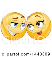 Clipart Of A Yellow Emoji Smiley Face Emoticon Face Couple Royalty Free Vector Illustration