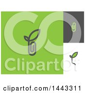 Clipart Of Paperclip And Leaf Designs Royalty Free Vector Illustration by elena