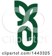 Clipart Of A Green Paperclip With Leaves Royalty Free Vector Illustration by elena