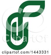 Clipart Of A Green Paperclip With A Leaf Royalty Free Vector Illustration
