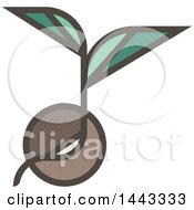 Clipart Of A Flat Design Styled Sprout Plant Royalty Free Vector Illustration
