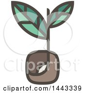 Clipart Of A Flat Design Styled Sprout Plant Royalty Free Vector Illustration by elena