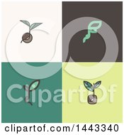 Clipart Of Seeds And Plant Leaves Royalty Free Vector Illustration