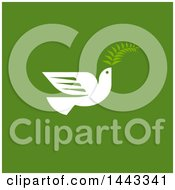 Clipart Of A White Peace Dove Flying With A Branch Design On Green Royalty Free Vector Illustration