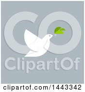 Clipart Of A White Peace Dove Flying With A Branch Design On Gray Royalty Free Vector Illustration by elena
