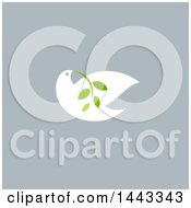 Clipart Of A White Peace Dove Flying With A Branch Design On Gray Royalty Free Vector Illustration