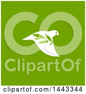 Clipart Of A White Peace Dove Flying With A Branch Design On Green Royalty Free Vector Illustration by elena