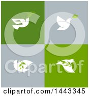 White Peace Doves Flying With Leaves And Branches On Gray And Green