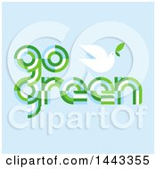Clipart Of A Peace Dove And Go Green Text On Blue Royalty Free Vector Illustration