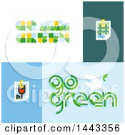 Clipart Of Flat Styled Go Green Designs Royalty Free Vector Illustration by elena