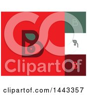 Clipart Of Flat Styled Letter B And Red Berry Leaf Designs Royalty Free Vector Illustration