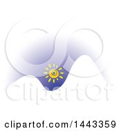 Clipart Of A Sun Over White Mountains Royalty Free Vector Illustration