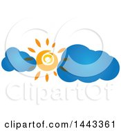 Clipart Of A Sun Shining With Blue Clouds Royalty Free Vector Illustration