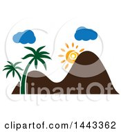 Clipart Of A Sun With Mountains Clouds And Palm Trees Royalty Free Vector Illustration