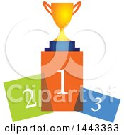 Clipart Of A Trophy On Colorful Podiums Royalty Free Vector Illustration