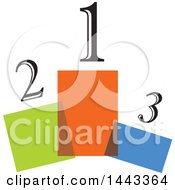 Clipart Of Numbers Over Colorful Podiums Royalty Free Vector Illustration
